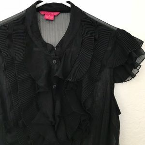 Tops - Black Ruffled Blouse Size Small